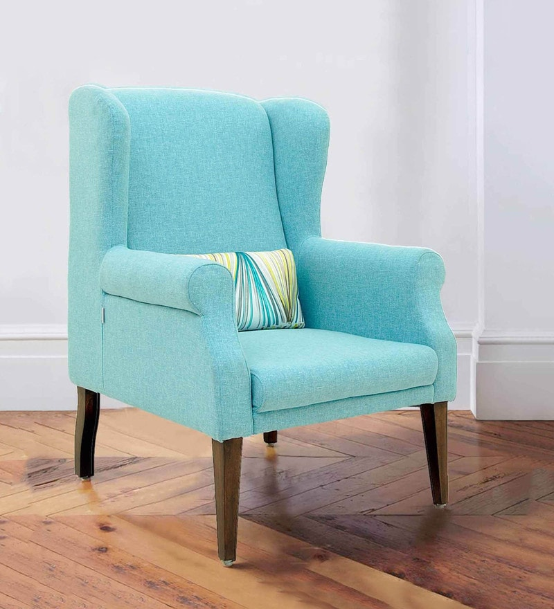 Calisto Wing Chair in Blue Colour by CasaCraft