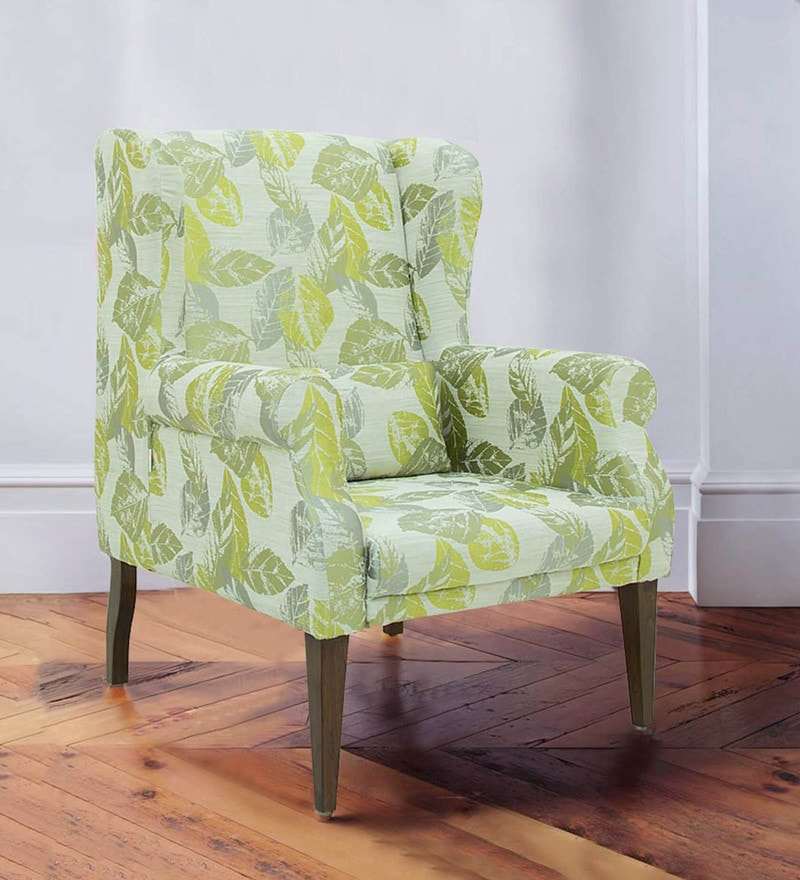 Calisto Wing Chair in Floral Green Colour by CasaCraft