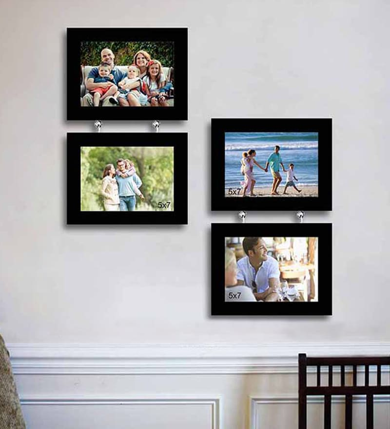 Buy eCraftIndia Black Acrylic and Glass 4 x 6 and 5 x 7 Inch 7 Photo ...