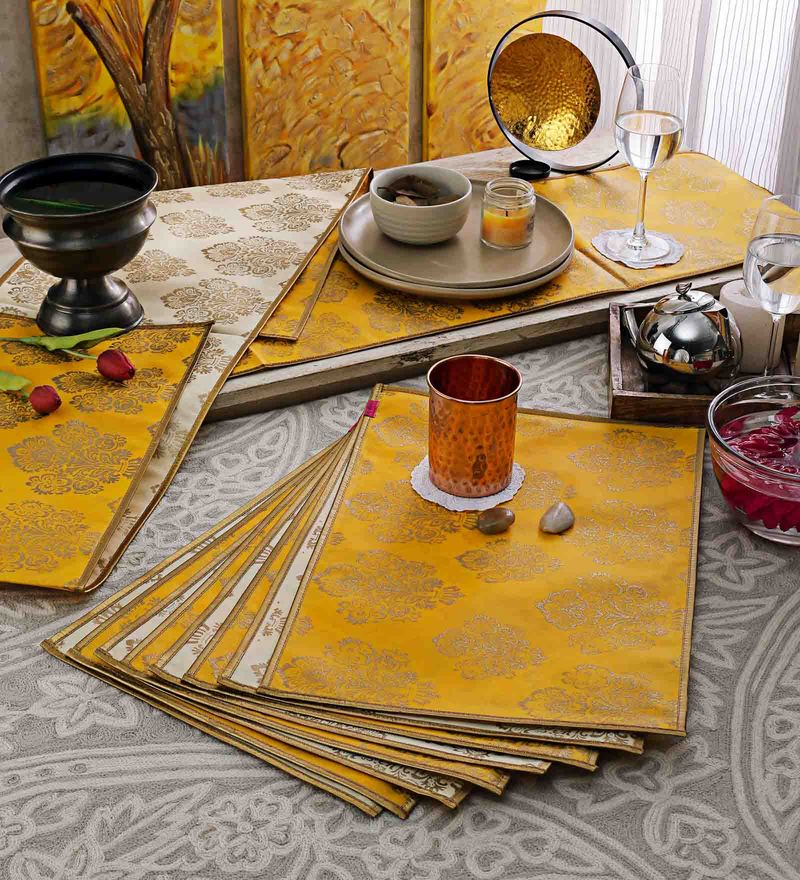 Cannigo Cream & Yellow Fibre Placemats with Runners - Set of 10