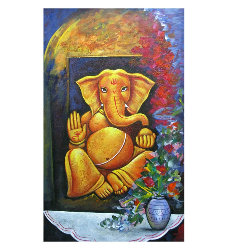 Canvas 15 x 0.2 x 26 Inch Blessings of Ganesh Unframed Handpainted Art Painting by Fizdi Art Store