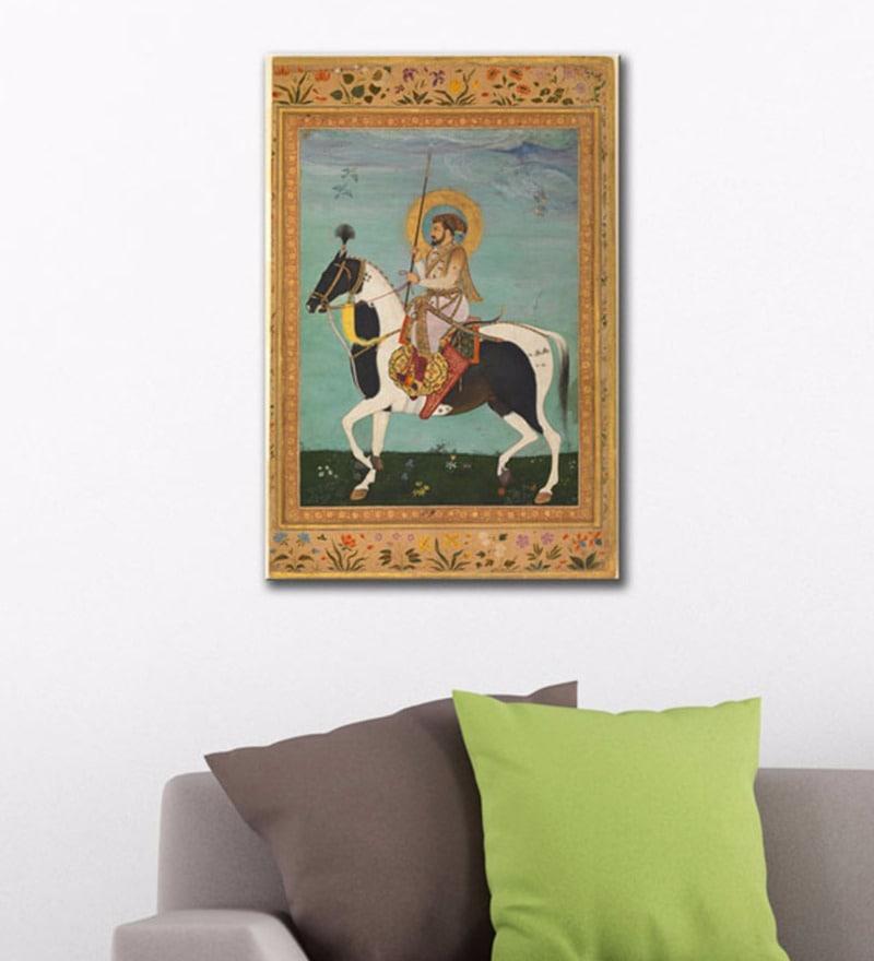 4f6304345b9b Canvas 16 x 24 Inch Indian Art Shah Jahan on Horseback Gallery Wrap  Stretched Art Print
