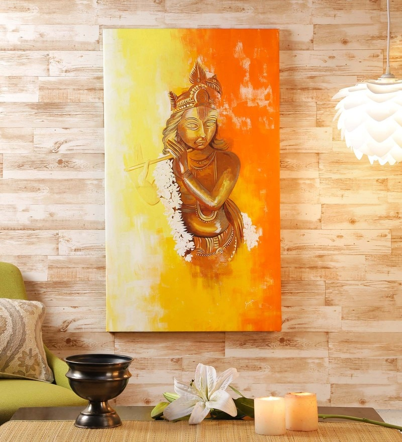 Buy Multicolour Canvas 18 x 1.5 x 24 Inch Round Buddha Painting by ...