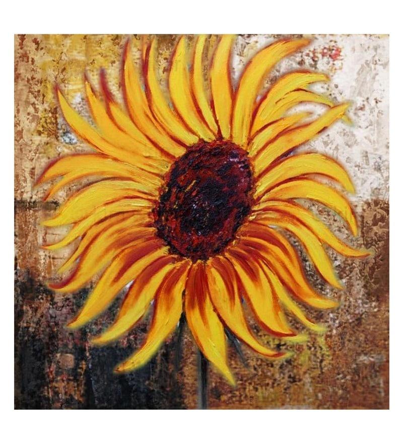 Canvas 24 x 0.2 x 24 Inch Sunflower Unframed Handpainted Art Painting by Fizdi Art Store