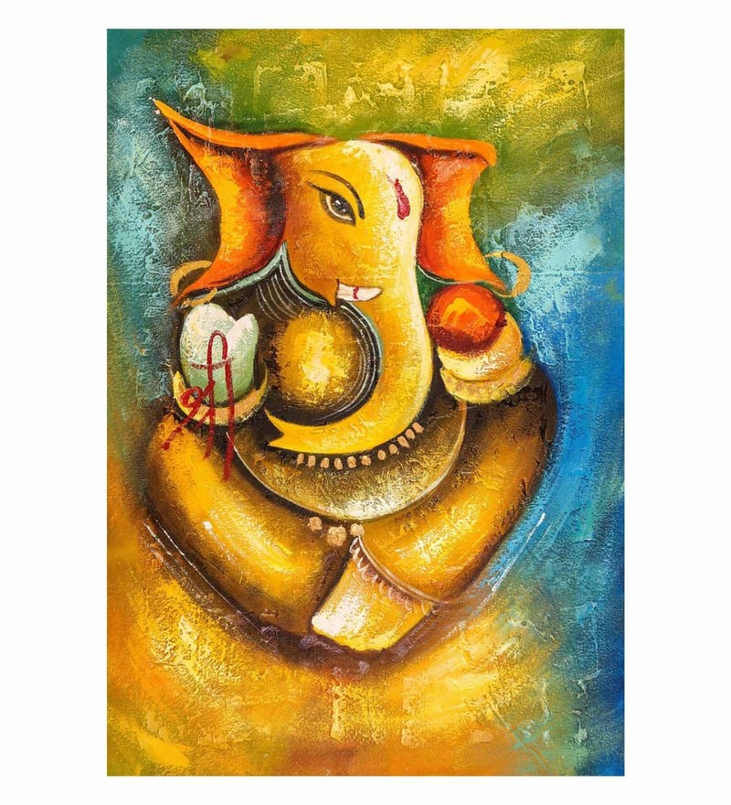 Canvas 24 x 0.2 x 36 Inch Shree Ganesh Unframed Handpainted Art Painting by Fizdi Art Store