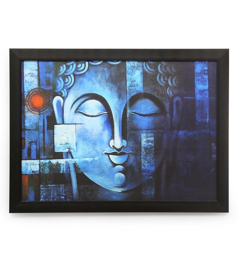 Canvas 31.49 x 0.79 x 24.01 Inch Buddha & Bodhi Vishram Framed Painting by @Home