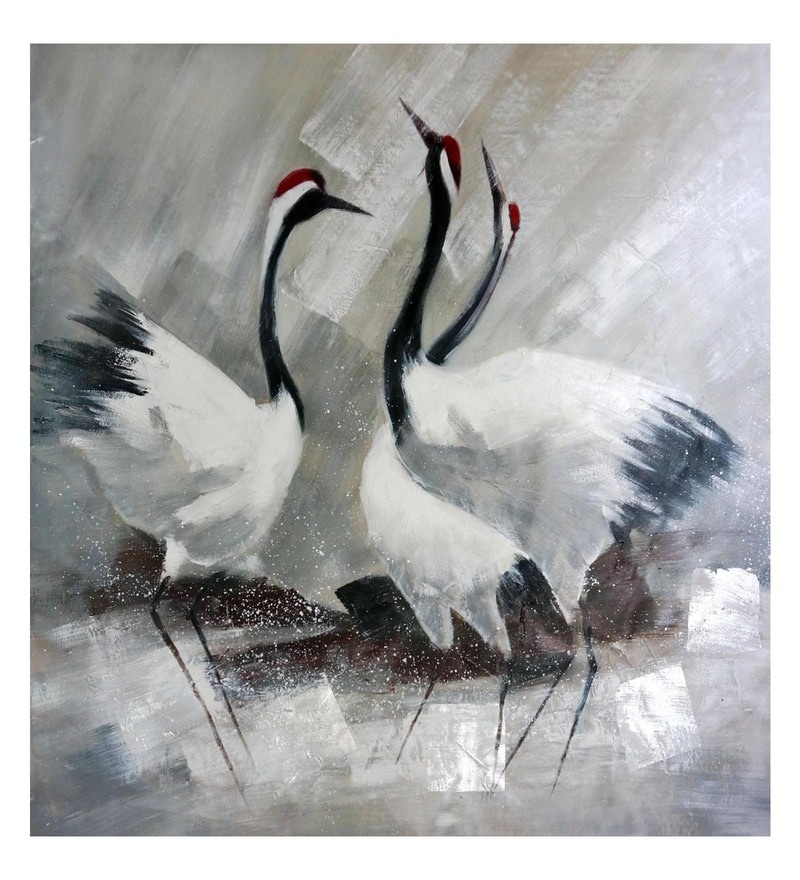 Canvas 32 x 0.2 x 36 Inch Swan Family Unframed Handpainted Art Painting by Fizdi Art Store