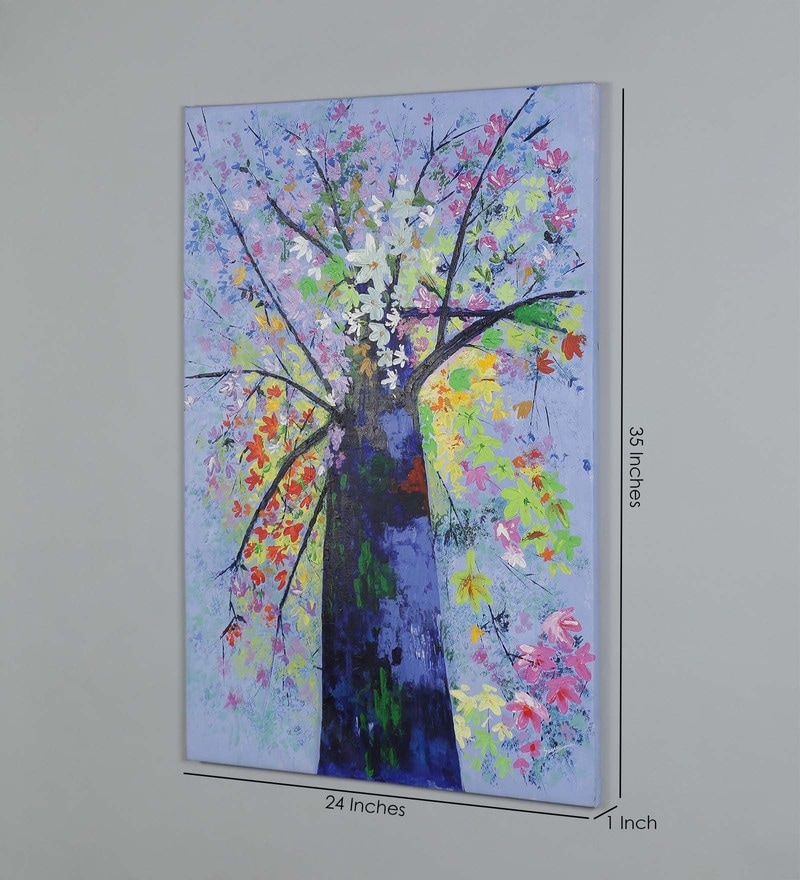 Canvas 35 x 1 x 24 Inch Floral Tree Painting by Retcomm Art