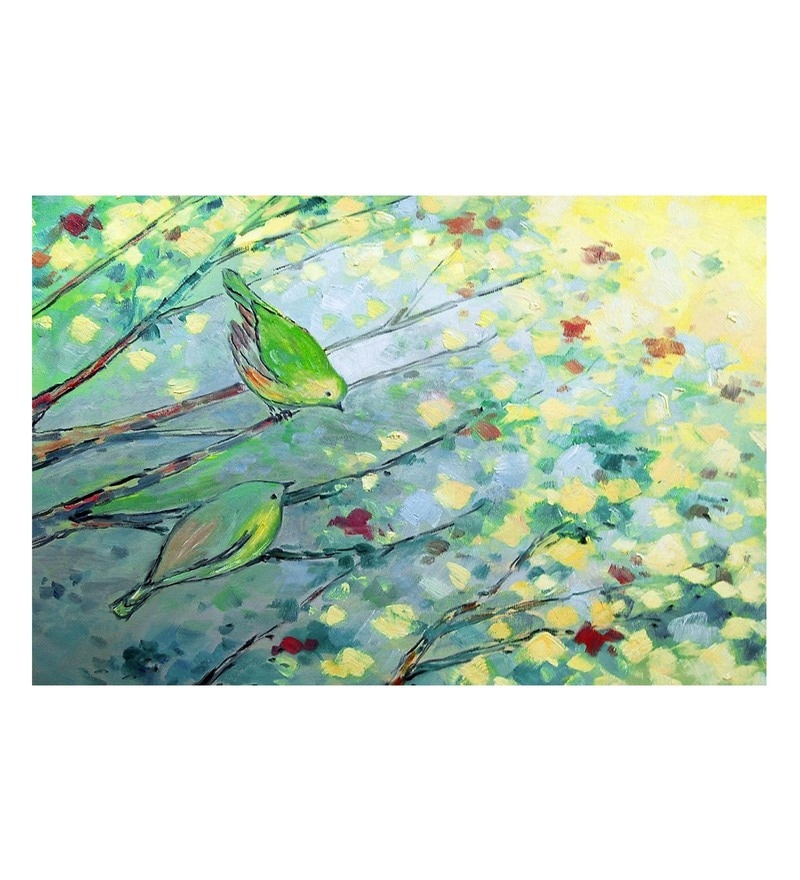 Canvas 36 x 0.2 x 24 Inch Sweet Birds Unframed Handpainted Art Painting by Fizdi Art Store