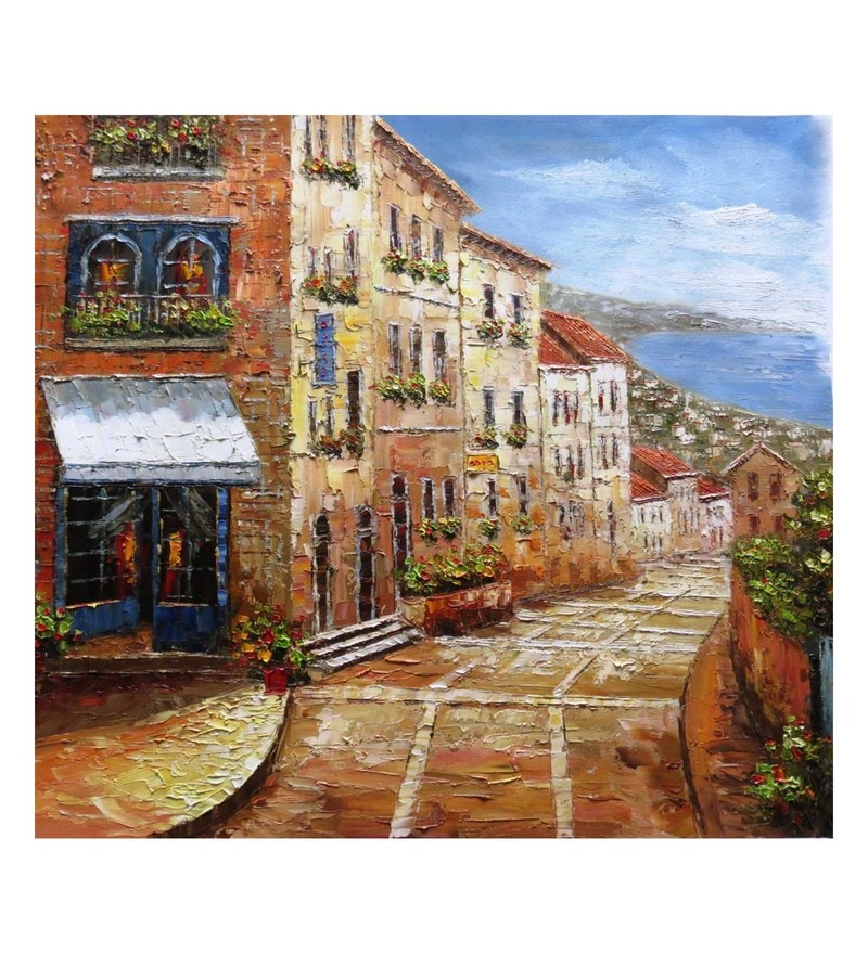 Canvas 36 x 0.2 x 32 Inch Venice Unframed Handpainted Art Painting by Fizdi Art Store
