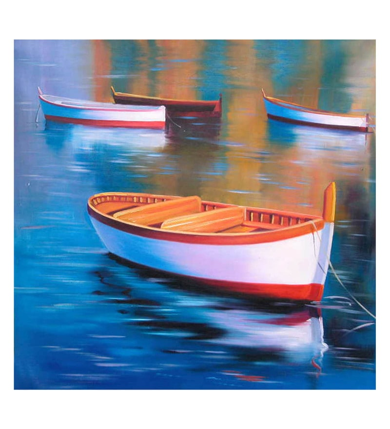 Canvas 36 x 0.2 x 36 Inch Ready to Sail Unframed Handpainted Art Painting by Fizdi Art Store