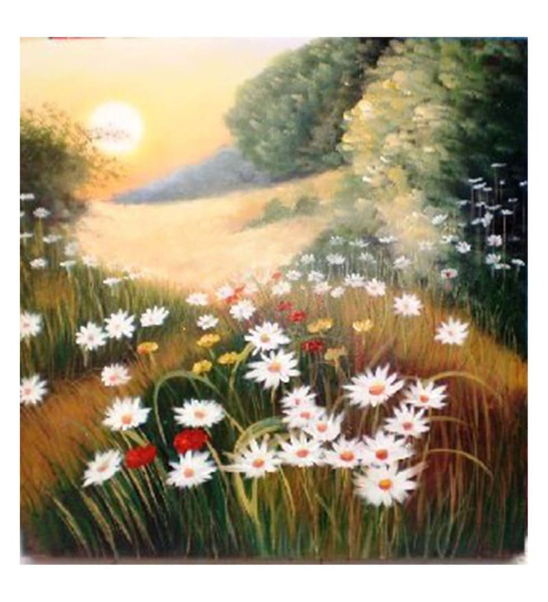 Canvas 36 x 0.2 x 36 Inch White Flowers Landscape Unframed Handpainted Art Painting by Fizdi Art Store