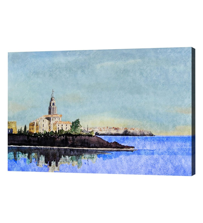 Canvas 40 x 0.2 x 30 Inch Ocean City I Unframed Handpainted Art Painting by Fizdi Art Store