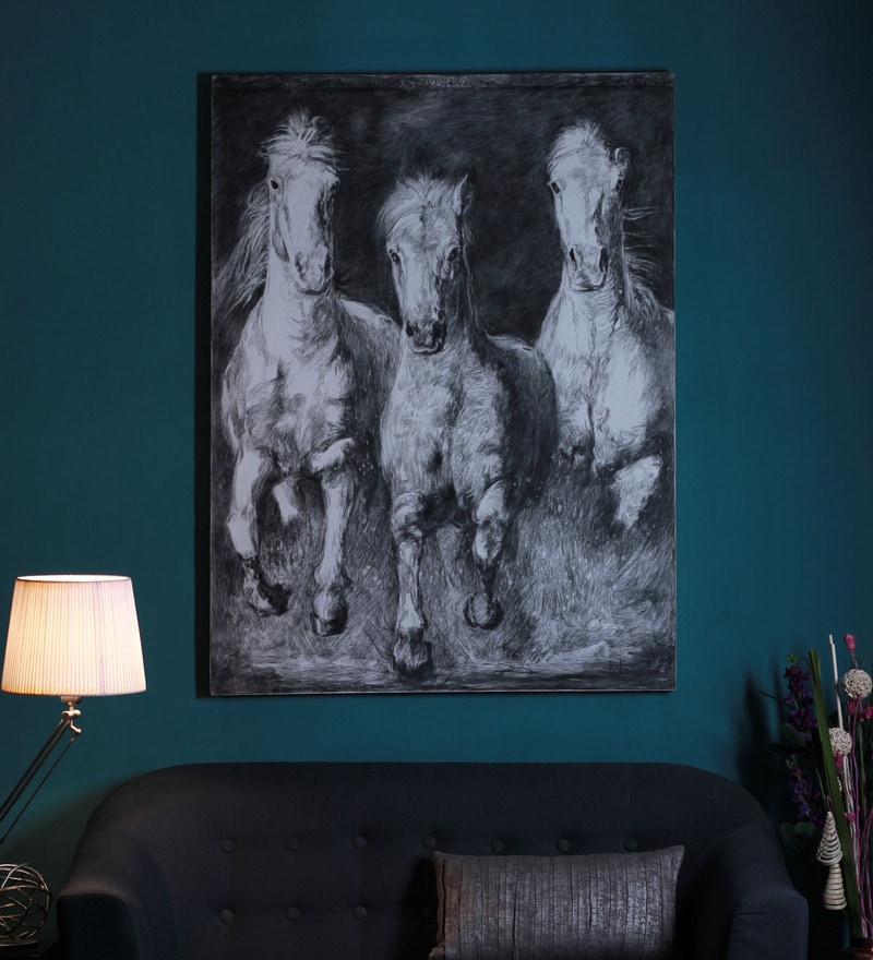 Canvas 60 x 2 x 48 Inch Wild Horses Stretched Painting by Manomay Kreations