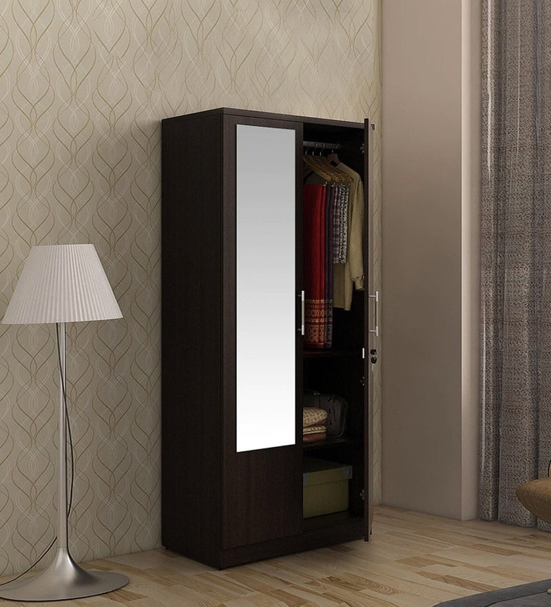 Carnival Two Door Wardrobe in Wenge Finish by Spacewood & Buy Two Door Carcass with Small Mirror Shutter with MR and Finish ...