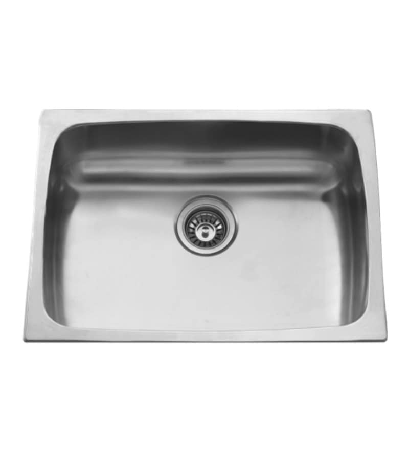 Carysil Elegance Gloss Stainless Steel Single Bowl Kitchen Sink - 24x18x8