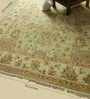 Green & Beige Wool 123 x 95 Inch Persian Design Hand Knotted Area Rug by Carpet Overseas