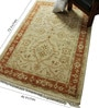 Ivory & Rust Wool 72 x 46 Inch Persian Design Hand Knotted Area Rug by Carpet Overseas