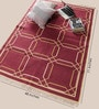 Rust Cotton 71 x 48 Inch Lattice Design Flatweave Area Rug by Carpet Overseas