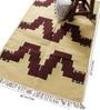 Yellow & Red Wool 65 x 40 Inch Modern Design Flatweave Area Rug by Carpet Overseas