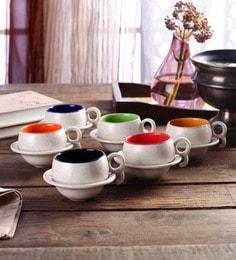 CDI Stoneware Cups & Saucers Ceramic 200 Ml - Set Of 12