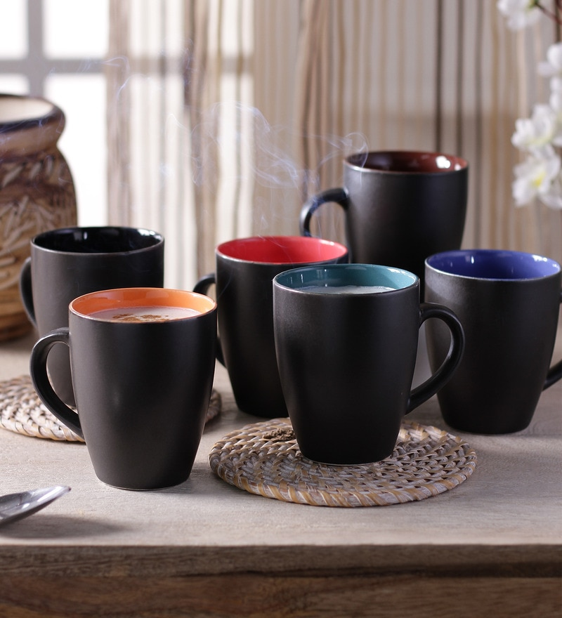 Cdi Black Matt Finish Coffee Mugs - Set of 6 with Wooden Tray