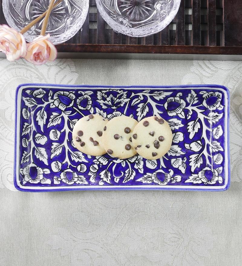 Cdi Blue Stoneware Mughal Art Rectangular Platter