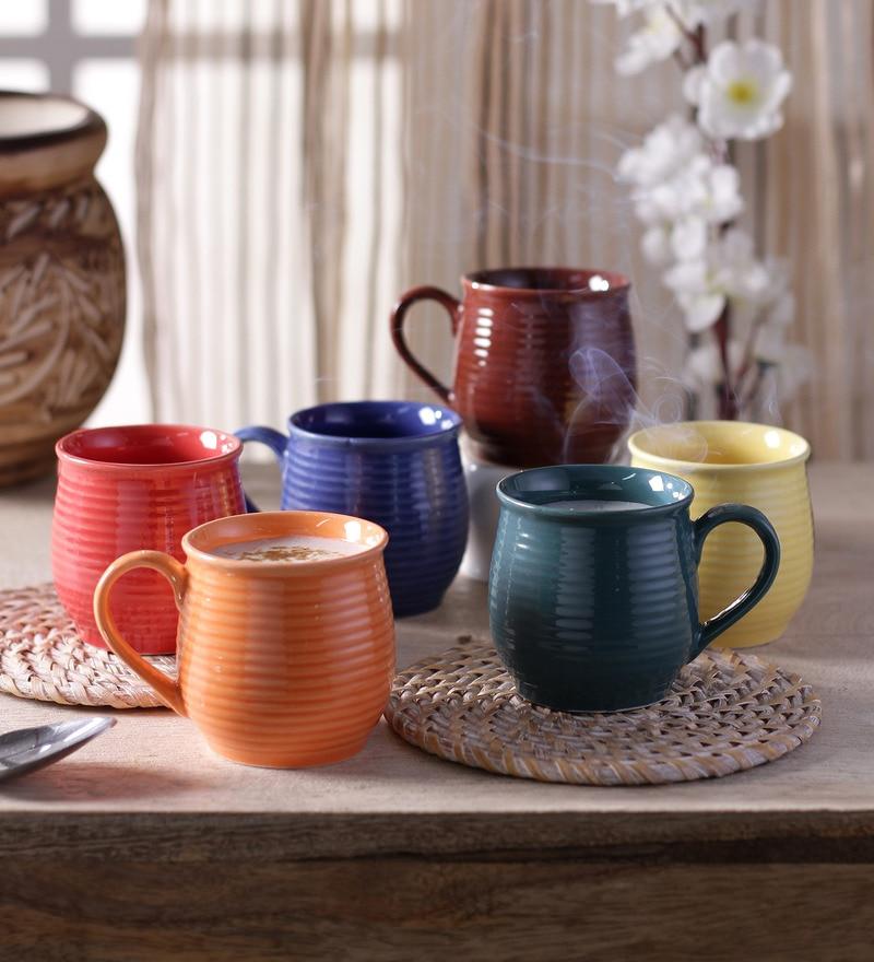 Cdi Kullar Stoneware 150 ML Mugs With Wooden Tray - Set of 6