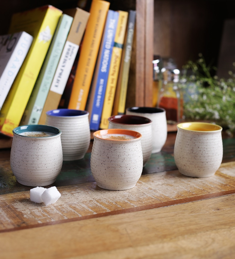 Buy Bergner Stoneware 100 Ml Cups And Saucers With Stand Online