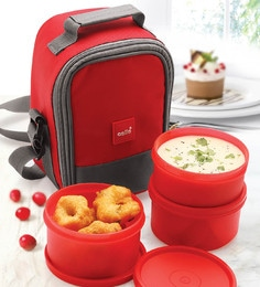 Cello Max Fresh Joy Red Plastic Containers Lunch Box - Set Of 3