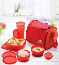 Cello Max Fresh Sling With Bag Red & Orange Plastic Lunch Box - Set Of 4