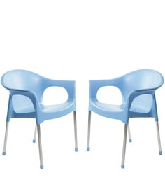 Metallo Cafeteria Chair Set Of Two In Blue Colour