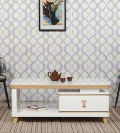 Center Table With Drawer In Ivory Finish - 1641131