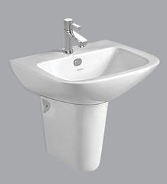 Cera Wall Mounting Wash Basin With Full Pedestal, White
