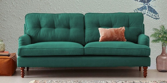 Cewana Three Seater Sofa In Green Colour