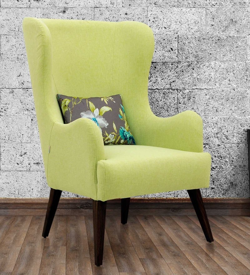 Cecelia Wing Chair in Lime Green Colour by CasaCraft