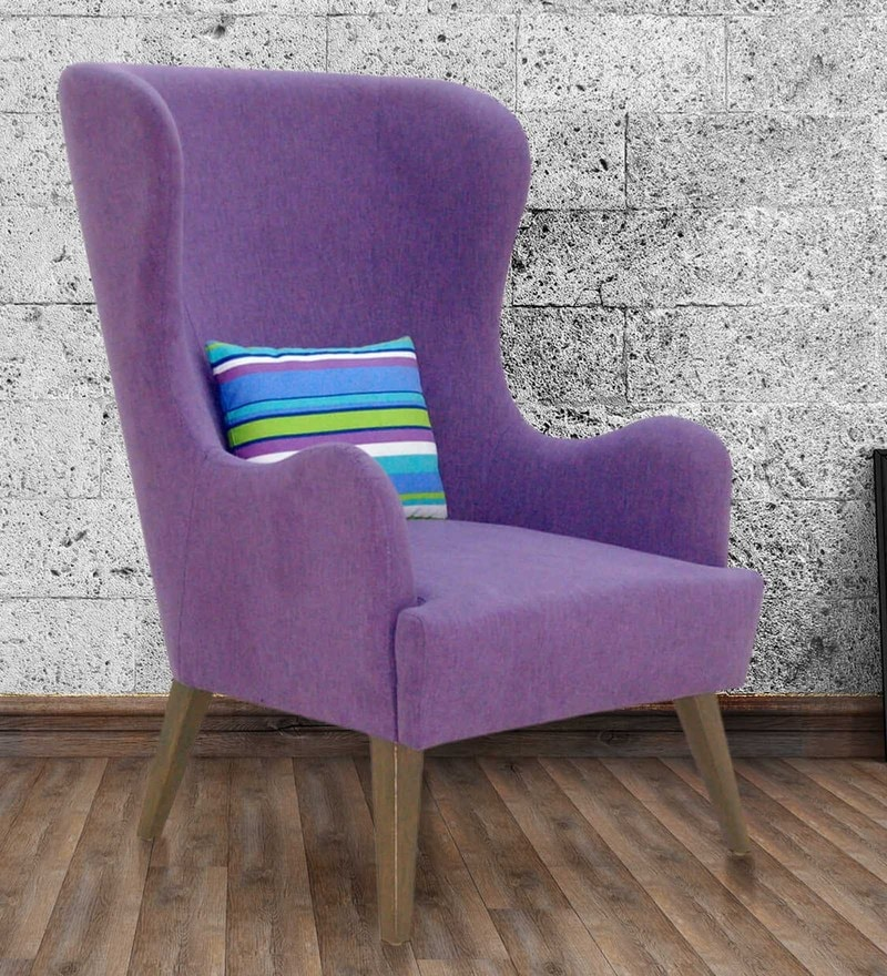 Cecelia Wing Chair in Purple Colour by CasaCraft