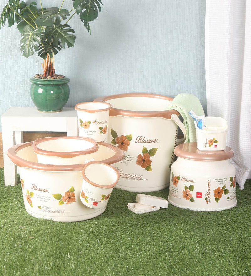 Cello Blossom Plastic Brown Bucket Set - Set of 8