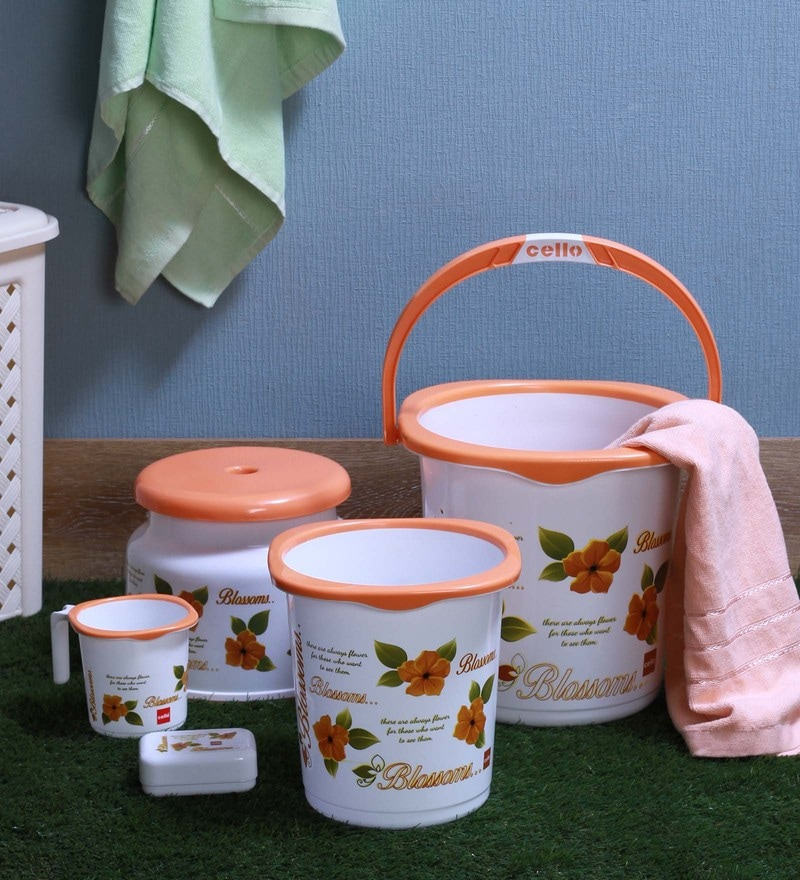 Cello Blossom Plastic Orange Small Bucket Set - Set of 5