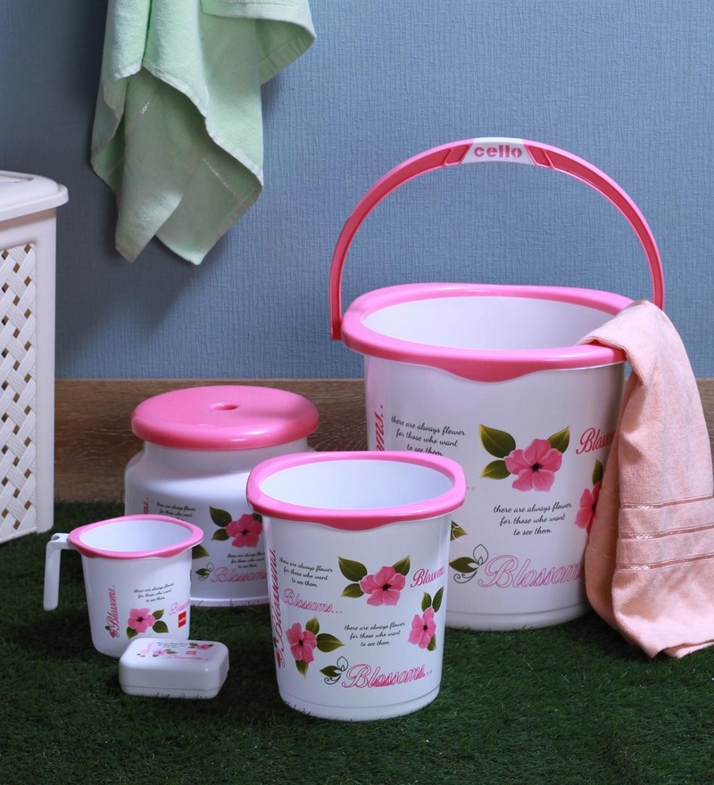 Cello Blossom Plastic Pink Bucket Set - Set of 5