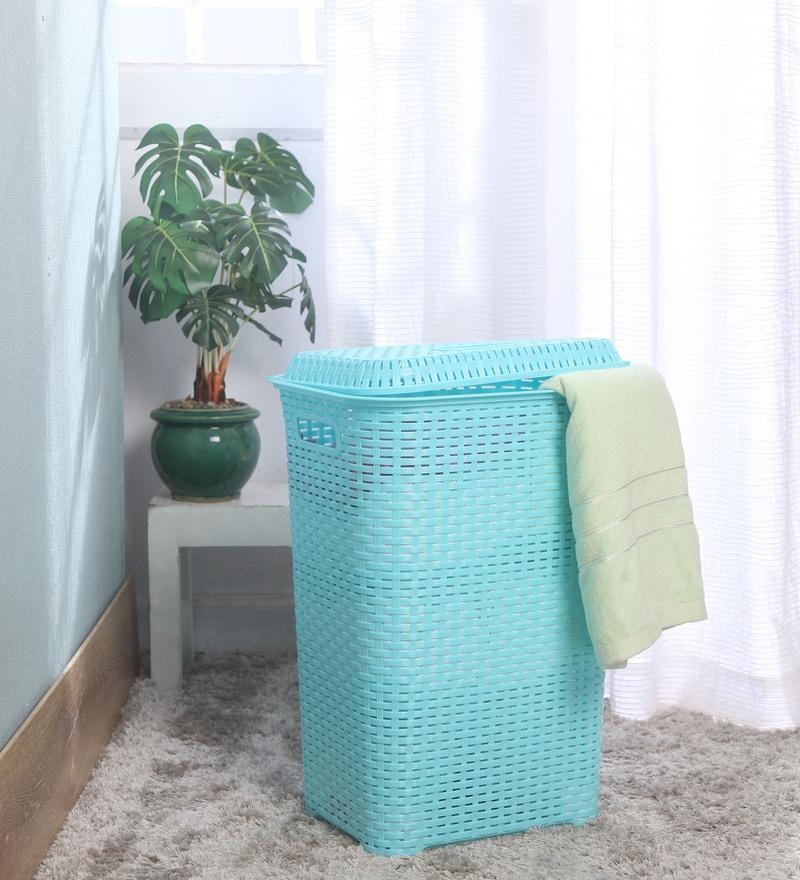 Cello Eliza Plastic 50 L Light Blue Laundry Basket