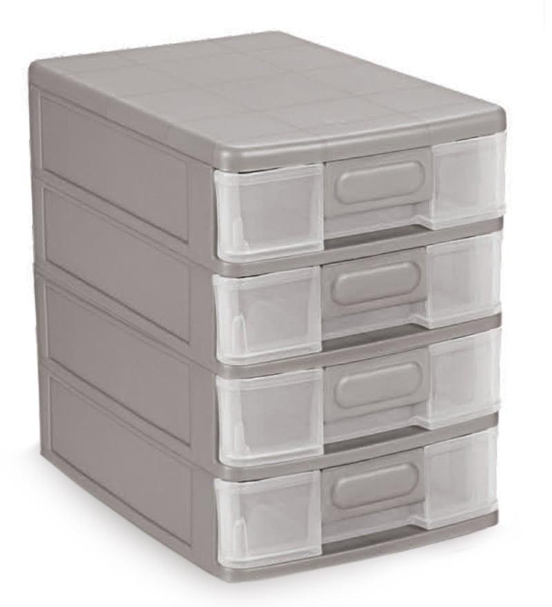Cello Maxi 4 Drawer Plastic Silver System Box