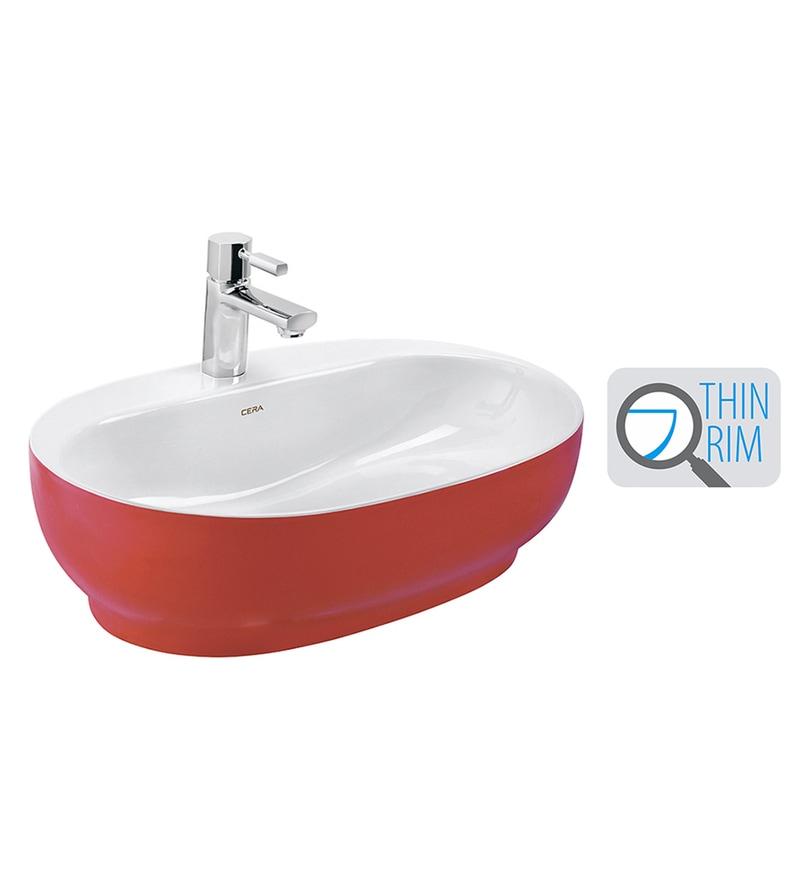 Cera Cafe White & Red Ceramic Wash Basin