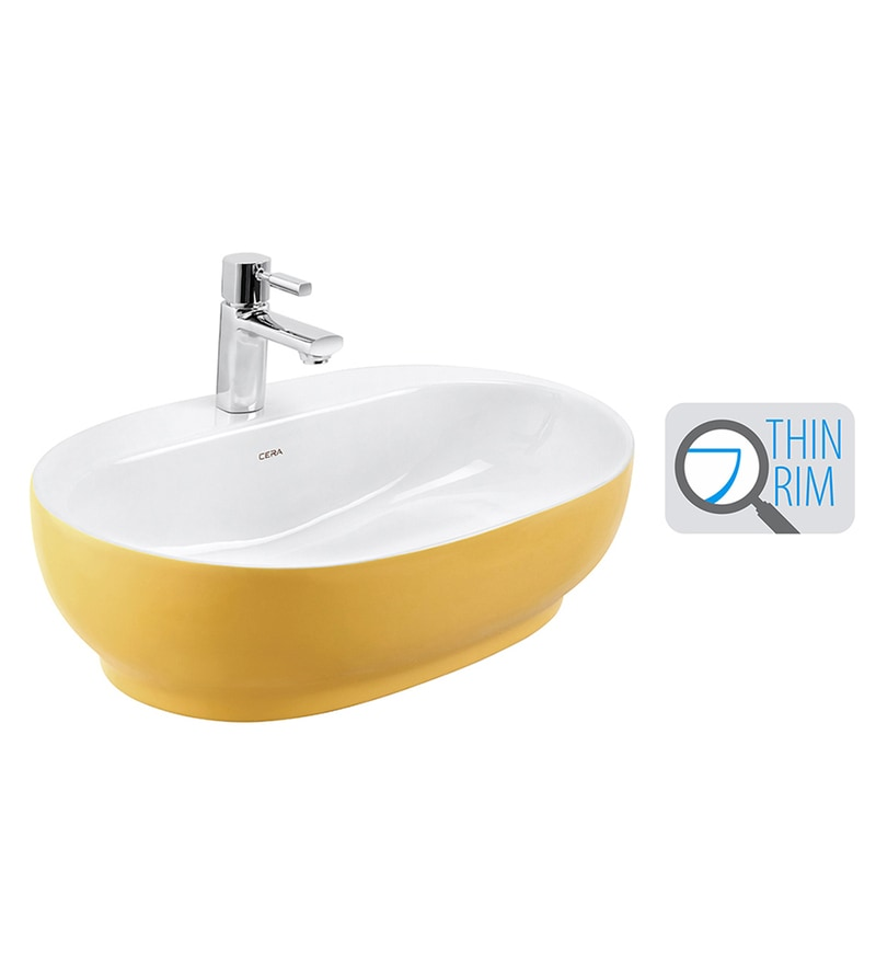 Cera Cafe White & Yellow Ceramic Wash Basin