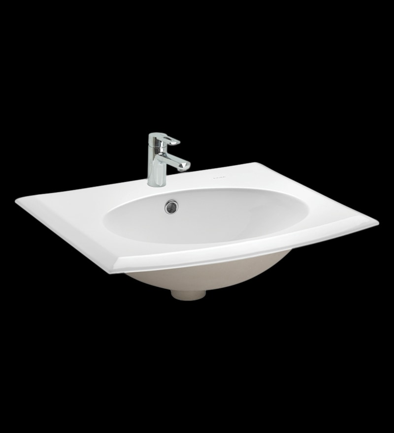 Cera Carmel White Ceramic Wash Basin
