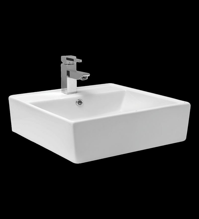 Cera Casket White Ceramic Table Top Wash Basin