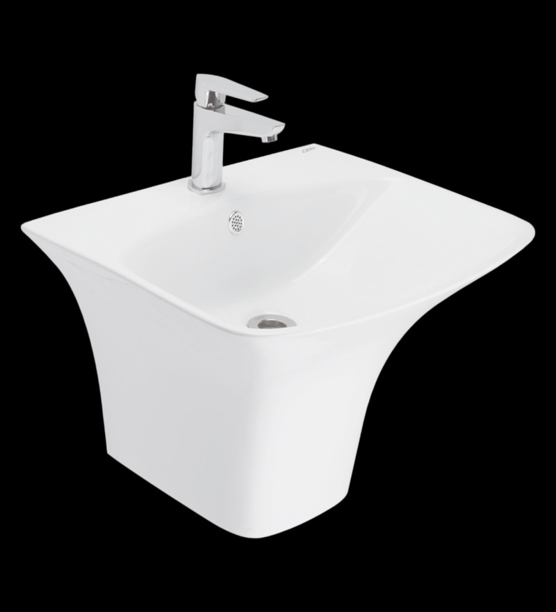 Cera Clause White Ceramic Wash Basin