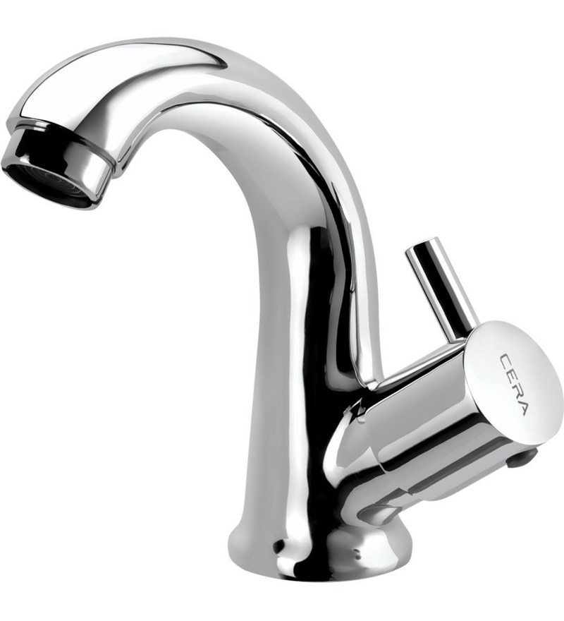 Cera Ocean Quarter/Half Turn Cl 222R Chrome Plated Brass Pillar Cock with Swan Neck Spout