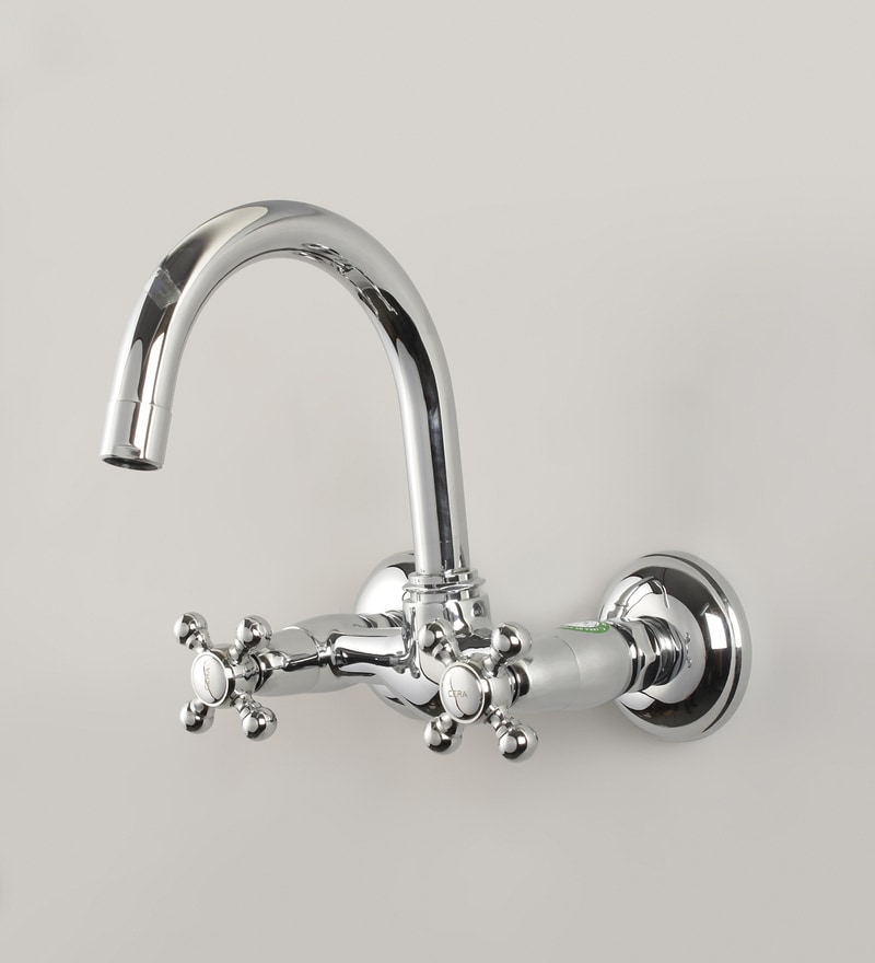 Cera Silver Brass Diana Quarter Turn Wall Mounted Sink Mixer