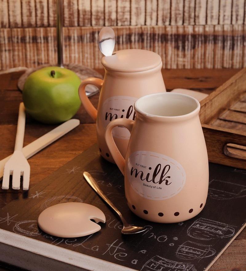 Ceradeco Ceramic 400 ML Milk Mugs - Set of 6